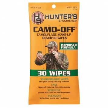 34011KY Camo-Off Makeup Remover Wipes, White - Pack of 30