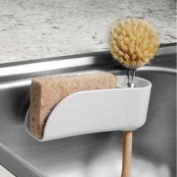 Spectrum Diversified 10950 7 x 3 in. Plastic Royo Suction Sink Sponge & Brush Holder, Clear