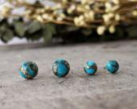 Turquoise Stud Earrings with gold copper Inclusions, Healing Stones on Hypoallergenic Titanium earring posts December Birthstone